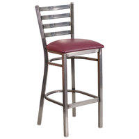 Clear-Coated Ladder Back Metal Restaurant Barstool with Burgundy Vinyl Seat