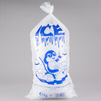 Choice 25 lb. Clear Plastic Ice Bag with Ice Print - 500/Case