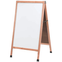 Aarco 42 inch x 24 inch Oak A-Frame Sign Board with White Marker Board