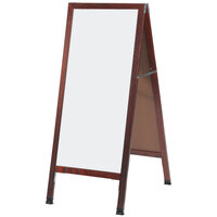 Aarco 42 inch x 18 inch Cherry A-Frame Sign Board with White Marker Board