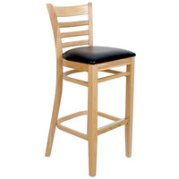 Lancaster Table &amp&#x3b; Seating Natural Ladder Back Bar Height Chair with Black Padded Seat
