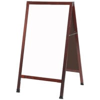 Aarco 42 inch x 24 inch Cherry A-Frame Sign Board with White Marker Board