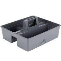 Lavex Janitorial 3 Compartment Large Gray Janitor Caddy - 15 1/4 inch x 13 1/4 inch x 6 3/4 inch