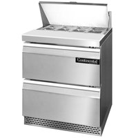 Continental Refrigerator SW27-8-FB-D 27 inch Front Breathing Sandwich / Salad Prep Refrigerator with Two Drawers