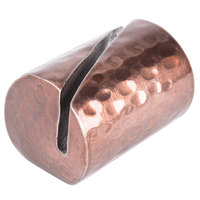 American Metalcraft BHCHL2 1 1/4 inch Cylinder Hammered Copper Card Holder with Angled Cut