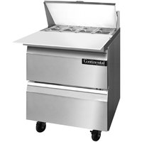 Continental Refrigerator SW27-8C-D 27 inch Cutting Top Sandwich / Salad Prep Refrigerator with Two Drawers