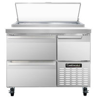 Continental Refrigerator CPA43-D 43 inch Pizza Prep Table with Two Drawers and One Half Door