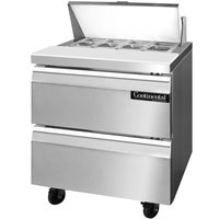 Continental Refrigerator SW32-8-D 32 inch Sandwich / Salad Prep Refrigerator with Two Drawers