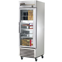 True TS-23FG-LD Stainless Steel Single Section Glass Door Reach In Freezer with LED Lighting - 23 Cu. Ft.