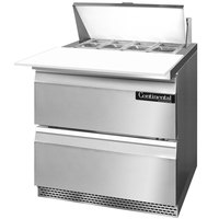 Continental Refrigerator SW32-8C-FB-D 32 inch Front Breathing Cutting Top Sandwich / Salad Prep Refrigerator with Two Drawers