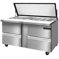 Continental Refrigerator SW60-24M-HGL-D 60 inch Mighty Top Sandwich / Salad Prep Refrigerator with Four Drawers and Hinged Glass Lid