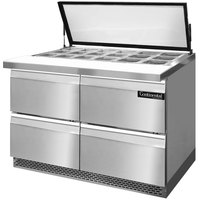 Continental Refrigerator SW48-18M-HGL-FB-D 48 inch Mighty Top Front Breathing Sandwich / Salad Prep Refrigerator with Four Drawers and Hinged Glass Lid
