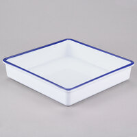Cal-Mil 3466-15 Enamelware 10 inch x 10 inch x 2 inch White Deep Melamine Serving Tray with Blue Rim