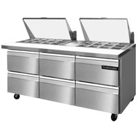 Continental Refrigerator SW72-27M-D 72 inch Mighty Top Sandwich / Salad Prep Refrigerator with Six Drawers