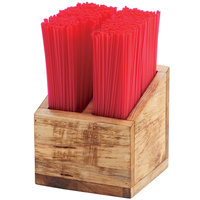 Cal-Mil 3308-99 Madera 2 Compartment Reclaimed Wood Straw Organizer - 5 1/4 inch x 5 1/4 inch x 5 1/2 inch