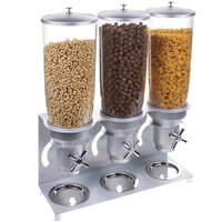 Cal-Mil 3517-3-39 Platinum Turn and Serve 3 Bin Cereal Dispenser - 18 1/2 inch x 6 inch x 22 1/2 inch