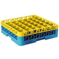 Carlisle RG36-1C411 OptiClean 36 Compartment Glass Rack with 1 Color-Coded Extender - Yellow / Carlisle Blue