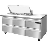 Continental Refrigerator SW72-18M-D 72 inch Mighty Top Sandwich / Salad Prep Refrigerator with Six Drawers