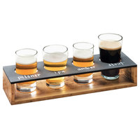 Cal-Mil 3480-99 Madera Reclaimed Wood Write-On Beer Flight Display - 13 inch x 4 inch x 2 1/2 inch