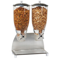 Cal-Mil 3511-2-55 Stainless Steel Turn and Serve 2 Cylinder Cereal Dispenser - 12 1/4 inch x 6 inch x 17 3/4 inch