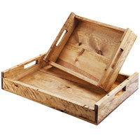 Cal-Mil 3454-1220-99 Madera 23 1/4 inch x 14 1/2 inch x 5 1/4 inch Reclaimed Wood Serving Tray with Handles