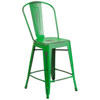 Distressed Green Metal Counter Height Stool with Vertical Slat Back and Drain Hole Seat