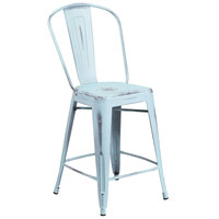 Distressed Dream Blue Metal Counter Height Stool with Vertical Slat Back and Drain Hole Seat