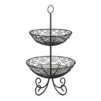 Tablecraft BKT2 Mediterranean Two Tier Black Display Basket with Legs - 25 inch
