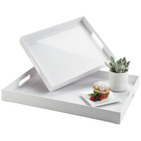Cal-Mil 3475-1-15 15 inch x 12 inch x 2 3/4 inch White Plastic Room Service Tray with Handles