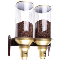 Cal-Mil 3529-2-11 Gold Wall Mount 2 Cylinder Coffee Bean Dispenser - 20 1/4 inch x 9 1/8 inch x 25 1/4 inch