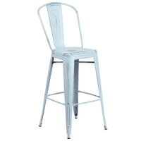 Distressed Dream Blue Metal Bar Height Stool with Vertical Slat Back and Drain Hole Seat