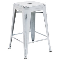 Distressed White Stackable Metal Counter Height Stool with Drain Hole Seat