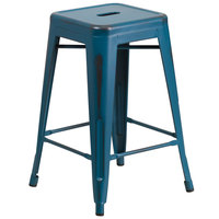 Distressed Kelly Blue Stackable Metal Counter Height Stool with Drain Hole Seat