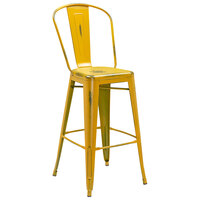 Distressed Yellow Metal Bar Height Stool with Vertical Slat Back and Drain Hole Seat