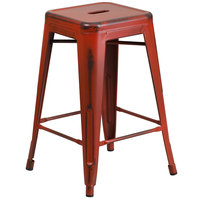 Distressed Kelly Red Stackable Metal Counter Height Stool with Drain Hole Seat
