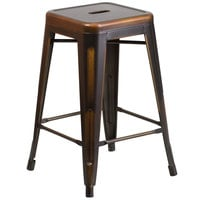 Distressed Copper Stackable Metal Counter Height Stool with Drain Hole Seat
