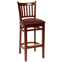BFM Seating LWB102MHBUV Delran Mahogany Wood Bar Height Chair with 2 inch Burgundy Vinyl Seat
