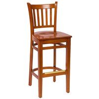 BFM Seating LWB102CHCHW Delran Cherry Wood Bar Height Chair