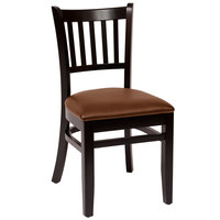 BFM Seating LWC102BLLBV Delran Black Wood Side Chair with 2 inch Brown Vinyl Seat