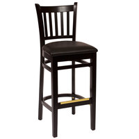 BFM Seating LWB102BLBLV Delran Black Wood Bar Height Chair with 2 inch Black Vinyl Seat