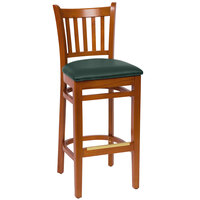 BFM Seating LWB102CHGNV Delran Cherry Wood Bar Height Chair with 2 inch Green Vinyl Seat