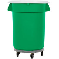 32 Gallon Green Recycling Trash Can, Lid, and Dolly Kit