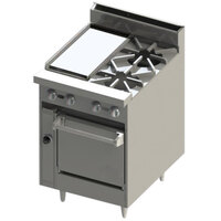 Blodgett BR-12GT-2-24 2 Burner 24 inch Thermostatic Gas Range with 12 inch Griddle and Oven Base - 114,000 BTU