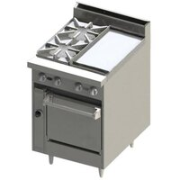 Blodgett BR-2-12G-24 2 Burner 24 inch Manual Gas Range with Right Side 12 inch Griddle and Oven Base - 114,000 BTU