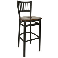 BFM Seating 2090BWAW-SB Troy Sand Black Metal Bar Height Chair with Walnut Seat