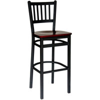 BFM Seating 2090BMHW-SB Troy Sand Black Metal Bar Height Chair with Mahogany Seat