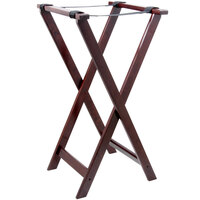 Lancaster Table & Seating 32 inch Folding Wood Tray Stand Red Brown