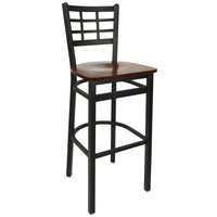 BFM Seating 2163BMHW-SB Marietta Sand Black Metal Bar Height Chair with Mahogany Wood Seat