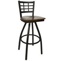 BFM Seating 2163SWAW-SB Marietta Sand Black Metal Swivel Bar Height Chair with Walnut Wood Seat