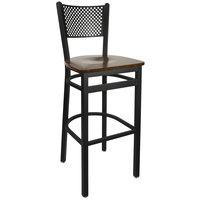 BFM Seating 2161BWAW-SB Polk Sand Black Metal Bar Height Chair with Walnut Seat